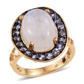 GP Sri Lankan Rainbow Moonstone, Tanzanite 14K YG Over Sterling Silver Pierced Band Ring (Size 9.0) TGW 9.91 cts.