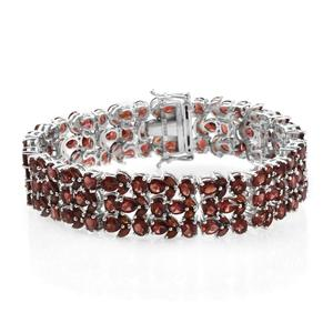 Mozambique Garnet Platinum Over Sterling Silver Bracelet (7.75 In) TGW 46.24 cts.