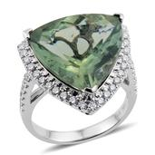 14K WG Natural Green Apatite, Diamond Trillion Cut Ring (Size 7.0) TDiaWt 0.69 cts, TGW 14.330 cts.
