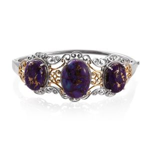 Mojave Purple Turquoise 14K YG and Platinum Over Sterling Silver Openwork Trilogy Bangle (7.25 in) TGW 43.55 cts.