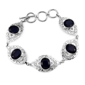 Artisan Crafted Blue Sapphire (Color Enhanced) Sterling Silver Openwork Toggle Clasp Bracelet (7.50 In) TGW 23.05 cts.