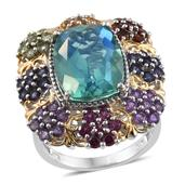 Peacock Quartz, Multi Gemstone 14K YG and Platinum Over Sterling Silver Statement Ring (Size 9.0) TGW 12.23 cts.