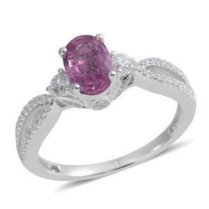 Mega Clearance ILIANA 18K WG Madagascar Pink Sapphire, Diamond Split Ring (Size 6.0) TDiaWt 0.27 cts, TGW 1.19 cts.