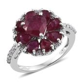 Niassa Ruby, White Zircon Platinum Over Sterling Silver Inner Heart Ring (Size 5.0) TGW 6.190 cts.