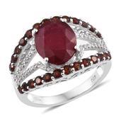 Niassa Ruby (FF), Mozambique Garnet, White Zircon Platinum Over Sterling Silver Openwork Ring (Size 5.0) TGW 8.550 cts.