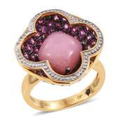 GP Peruvian Pink Opal, Orissa Rhodolite Garnet 14K YG Over Sterling Silver Floral Ring (Size 7.0) TGW 6.56 cts.