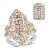 Turkizite 14K YG and Platinum Over Sterling Silver Elongated Ring (Size 9.0) TGW 2.25 cts.