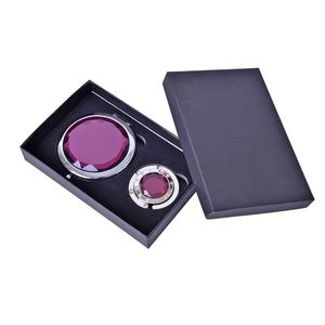Crystal Folding Handbag Hanger and Portable Foldable Pocket Makeup Compact Mirror