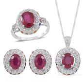 Niassa Ruby, Multi Sapphire, White Zircon Sterling Silver Earrings, Ring (Size 6) and Pendant With Chain (18 in) TGW 10.010 cts.