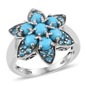 Arizona Sleeping Beauty Turquoise, Malgache Neon Apatite Platinum Over Sterling Silver Ring (Size 5.0) TGW 2.060 cts.