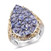Tanzanite 14K YG and Platinum Over Sterling Silver Ring (Size 9.0) TGW 5.19 cts.