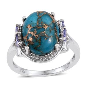 Mojave Blue Turquoise, Tanzanite Platinum Over Sterling Silver Ring (Size 7.0) TGW 10.130 cts.