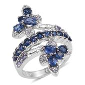 Himalayan Kyanite, Tanzanite, White Zircon Platinum Over Sterling Silver Elongated Bypass Ring (Size 6.0) TGW 2.74 cts.