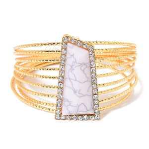 Light Pink Chroma, White Austrian Crystal Goldtone Stackable Bangle (8.50 in)