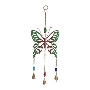 Multi Color Beads, Goldtone Butterfly Chime