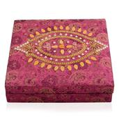 Pink Embroidered Ring Box (Approx 100 Rings) (10x10x2.5 in)