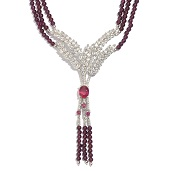 Niassa Ruby (FF), Orissa Rhodolite Garnet, White Topaz Platinum Over Sterling Silver Triple Strand Bead Necklace (18 in) TGW 201.39 Cts.
