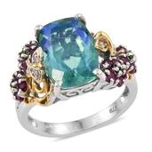Peacock Quartz, Multi Gemstone 14K YG and Platinum Over Sterling Silver Split Ring (Size 6.0) TGW 7.030 cts.
