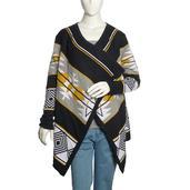 J Francis - Mustard and Black 100% Cotton Intarsia Knit Cardigan