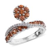 Orange Sapphire, White Zircon Platinum Over Sterling Silver Criss Cross Charm Ring (Size 9.0) TGW 2.320 cts.