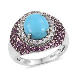 Arizona Sleeping Beauty Turquoise, White Topaz, Orissa Rhodolite Garnet Platinum Over Sterling Silver Ring (Size 6.0) TGW 5.90 cts.