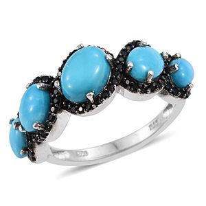 Arizona Sleeping Beauty Turquoise, Thai Black Spinel Platinum Over Sterling Silver Ring (Size 8.0) TGW 4.510 cts.