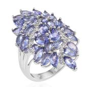 Tanzanite, White Zircon Platinum Over Sterling Silver Split Elongated Ring (Size 9.0) TGW 5.12 cts.