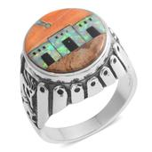 Santa Fe Style Lab Created Opal, Multi Gemstone Sterling Silver Men's Ring (Size 14.0) TGW 3.552 cts.