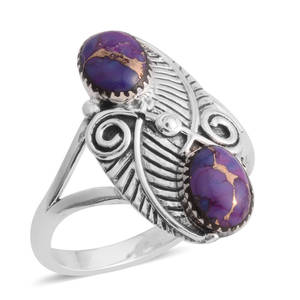 Santa Fe Style Mojave Purple Turquoise Sterling Silver Elongated Split Ring (Size 8.0) TGW 6.00 cts.