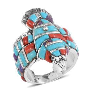 Santa Fe Style Multi Gemstone Sterling Silver Eagle Men's Band Ring (Size 12.0) TGW 8.501 cts.