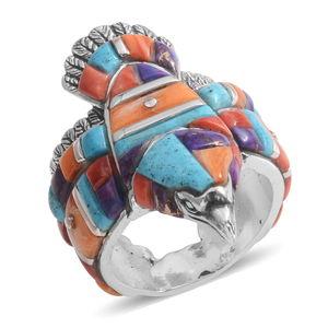 Santa Fe Style Multi Gemstone Sterling Silver Men's Eagle Band Ring (Size 11.0) TGW 5.752 cts.