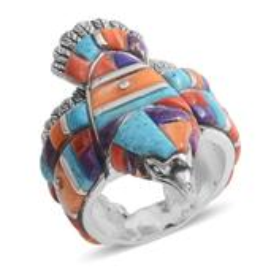 Santa Fe Style Multi Gemstone Sterling Silver Men's Eagle Band Ring (Size 12.0) TGW 5.752 cts.