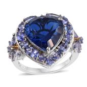 Brazilian Azul Quartz, Tanzanite 14K YG and Platinum Over Sterling Silver Heart Ring (Size 9.0) TGW 12.72 cts.