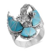 Santa Fe Style Mojave Blue Turquoise Sterling Silver Men's Eagle Ring (Size 11.0) TGW 16.500 cts.