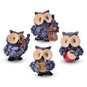 Set of 4 Brown Decorative Owls (3.5 in)