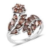 Jenipapo Andalusite Platinum Over Sterling Silver Bypass Ring (Size 7.0) TGW 2.61 cts.