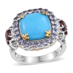 Arizona Sleeping Beauty Turquoise, Orissa Rhodolite Garnet, Tanzanite 14K YG and Platinum Over Sterling Silver Ring (Size 9.0) TGW 9.05 cts.