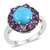 Arizona Sleeping Beauty Turquoise, Multi Gemstone Platinum Over Sterling Silver Ring (Size 10.0) TGW 3.94 cts.