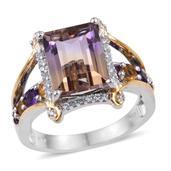 Anahi Ametrine, Multi Gemstone 14k YG and Platinum Over Sterling Silver Bridge Ring (Size 7.0) TGW 5.976 cts.