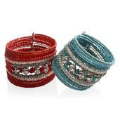 Red and Turquoise Glass Beads Silvertone Set of 2 Cuff