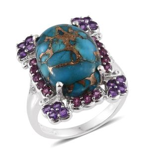 Mojave Blue Turquoise, Multi Gemstone Platinum Over Sterling Silver Ring (Size 8.0) TGW 14.35 cts.