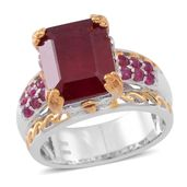 Niassa Ruby, Ruby 14K YG and Platinum Over Sterling Silver Openwork Lifted Bridge Ring (Size 6.0) TGW 10.54 cts.