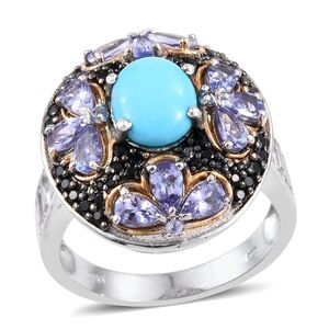 Arizona Sleeping Beauty Turquoise, Multi Gemstone 14K YG and Platinum Over Sterling Silver Cluster Ring (Size 11.0) TGW 7.48 cts.