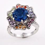 Brazilian Azul Quartz, Multi Gemstone Platinum Over Sterling Silver Floral Ring (Size 8.0) TGW 9.520 cts.