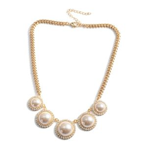 Simulated Pearl, Austrian Crystal Goldtone Fashion Necklace (16-18 in)