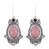 Artisan Crafted Peruvian Pink Opal, Mozambique Garnet Sterling Silver Dangle Earrings TGW 10.280 Cts.