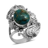 Bali Legacy Collection Mojave Blue Turquoise Sterling Silver Elongated Split Ring (Size 7.0) TGW 6.190 cts.