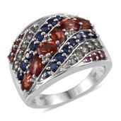Multi Sapphire, White Topaz Platinum Over Sterling Silver Ring (Size 7.0) TGW 3.55 cts.