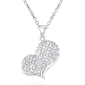 Simulated White Diamond Sterling Silver Heart Pendant With Stainless Steel Chain (20 in) TGW 0.500 Cts.