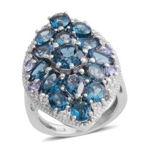 London Blue Topaz, Tanzanite, White Topaz Platinum Over Sterling Silver Ring (Size 6.0) TGW 8.07 cts.